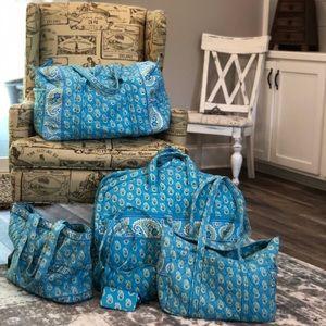 Vera Bradley Six Piece Luggage Set Bermuda Blue